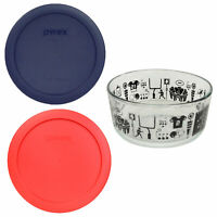 Pyrex 7201 4 Cup Football Glass Dish and 7201-PC (1) Blue and (1) Red Lid