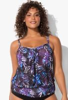 $54 NWT Draped Blouson Tankini Swim Top Plus Sz 10 Swimsuits for all 1089