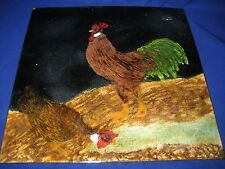 Vintage  Enamel Painting On Metal  Plaque Rooster