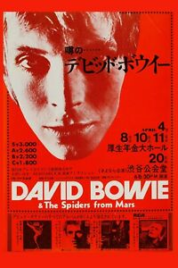 David Bowie & * Spiders from Mars * Japanese Concert Poster 1973   12x18