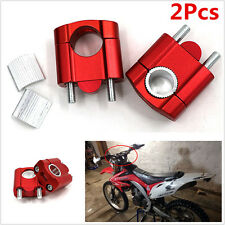 2Pcs 7/8'' 1 1/8'' Red Motorcycle Handle Bar Mount Clamp Riser for Bike Scooter
