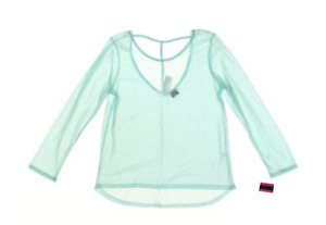 Material Girl Aqua Junior's Long-Sleeve Open-Back Athletic Top in Aqua, Size XL