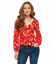 Joe Browns Womens Floral Vintage Blouse with Lace Detail Red Multicoloured 10