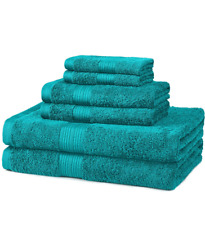 New Bath Towel 6 Piece Set 100% Cotton Bathroom Towels Washcloths Several Colors
