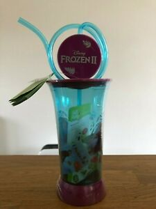 Disney Frozen II 2 Plastic Cup With Spinning Straw & Fruit Snack Exp 07/21 NEW