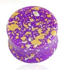 "PAIR-Splatter Purple Acrylic Double Flare Plugs 14mm/9/16"" Gauge Body Jewelry"