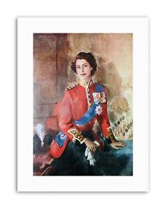 Queen Elizabeth II England Painting Portrait Canvas Art Print