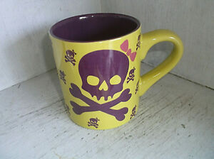 2010 David & Goliath Purple Girl Skull with Pink Bow Coffee Mug Cup 12 oz