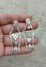 Women Jewelry Solid 925 Sterling Silver Chain Link Natural Polki Diamond Earring