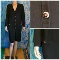 St. John Basics Knits Black Jacket L 12 10 Coat Dress Crest Logo Buttons Pockets