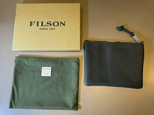 C.C. Filson Co. Rugged Suede Leather Smoke Black Zipper Pouch Medium Bag NEW