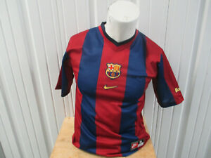 VINTAGE NIKE FC BARCELONA XL YOUTH WOMEN'S SEWN JERSEY 1998/99 KIT PREOWNED