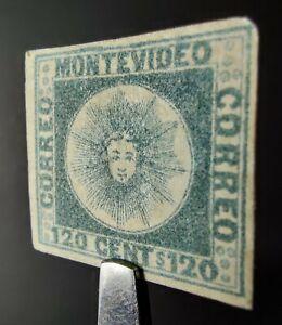 URUGUAY STAMP 1858 Sc #4b 120c GREENISH-BLUE SUN, MINT OG, $650