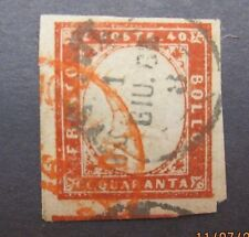 Italy14 Italy stamp Sardinia Scott 13b, VF used, 4 large margins, Cat. $385.00