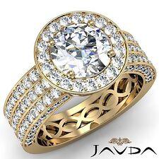 3 Row Halo Pave Round Diamond Engagement Ring GIA F VS1 18k Yellow Gold 2.85ct