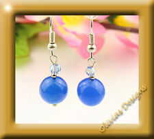 Sterlingsilber, Silber 925 Ohrringe, Ohrhänger, blau Jade, Swarovski Kristallen