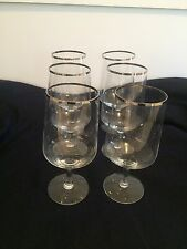 Set of 6 Vintage Silver Rim Water / Wine Glasses - unknown maker