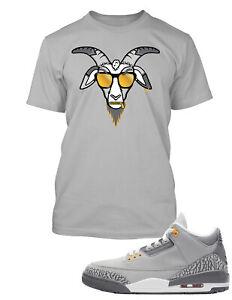 Cool Goat Sneaker Tee Shirt to Match Air Jordan 3 Cool Grey Shoe Men Graphic Tee