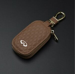 Leather Car Key Protection Bag Car Key Holder Keychain Ring Case For Infiniti