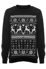 Lovely Women's Black Aztec Reindeer •Christmas Jumper• NEW+Tags 16 -18 L (12-14)