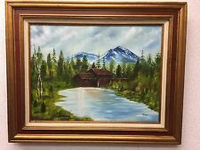 "Mill Pond Mountain Landscape Acrylic Painting Framed 31"" X 25"" Lk030817"