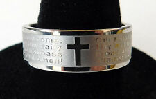 Lords Prayer & Christian Cross Etched Stainless Steel Band Ring for Men or Women