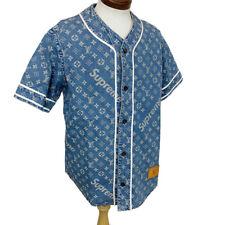 LOUIS VUITTON X Supreme Jeans Baseball Chemise Bleu Authentique ak158