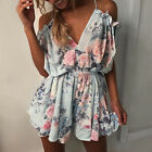 Womens Cold Shoulder Playsuit Party Beach Holiday Strappy Jumpsuit Shorts Dress
