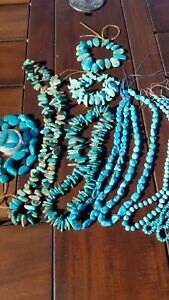 10 RARE strands American Turquoise beads ROYSTON, SLEEPING BEAUTY, KINGMAN CABS
