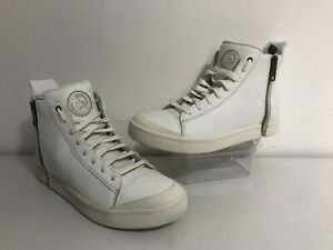 Mens Diesel S-Nentish White Leather Side Zip Hi Top Trainers UK 10 EU 45