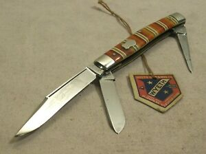 1930's~WYETH WARRANTED CUTLERY~D3578~3 BLADE STOCKMAN POCKET KNIFE w/ORIG. TAG~