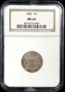 1882 Shield Nickel certified MS 64 by NGC! Very sharp!