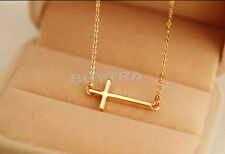 2015 New Gold Silver Horizontal Sideways Cross Necklace Side ME