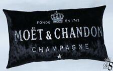 Black Crushed Velvet MOET style Champagne Cushion.