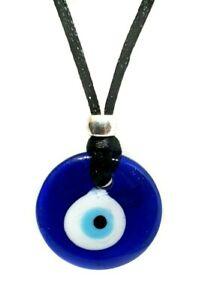 Evil Eye Nazar Pendant Protection Corded Necklace Glass Kabbalah Turkish UK