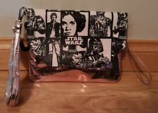 star wars themed- women black & white metallic pink handbag clutch - hand made