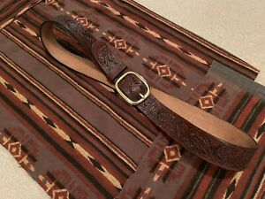 Sheridan Style Hand Carved and Tooled Western Belt - 38 - Made in USA, Very RRL