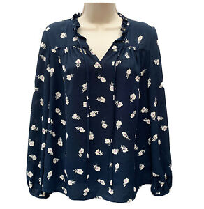 WHISTLES Tunic Women's UK 10 Floral Print Navy Blue Top Blouse Preppy Autumnal