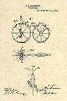 Official FIRST Bicycle Patent Art Print- Vintage Velocipede Antique Bike 251