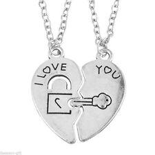 "2pcs Couples Necklace Set ""I Love You"" Heart Lock & Key ""Key to My Heart"" Friend"