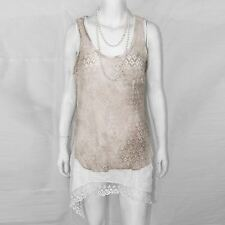 Womens Ladies Lace Hanky Hem Tops 2 Layer Swing Tie Dye Mini Dress Shirt Blouse Beige UK M/l (12-14)