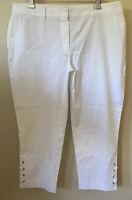 NWT $79 Talbots Chino White Crop Pants 14 14P 36x22 Stretch Petal Pushers Womens