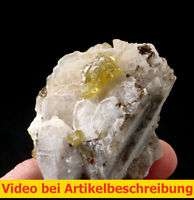 6209 Sphalerite gelb Calcit UV Schallerit 7*6*6 cm Huanggang China MOVIE