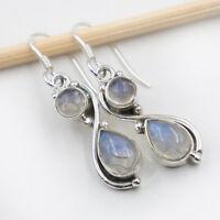 Mondstein Ohrhänger Silber 925 Ohrringe Schmuck Blau Weiß schimmernd  cha ts