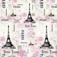 Paris Eiffel Tower Rosenthal Pink Paris Floral 100% cotton fabric by the yard