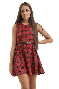 WOMEN/LADIES TARTAN SKIRTED DRESS VARIOUS COLOURS WITH GOLD LUREX DETAILING