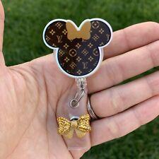 Minnie Mouse Ears Disney LV Retractable Badge Holder/ ID / Badge Reel/ Nurse ID