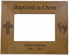 "Baptized in Christ Picture Frame Personalized Solid Red Alder Wood holds 4"" by 6"