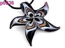 Starfish Flower Handmade Glass Beaded Pendant Black Cord Necklace p236 one