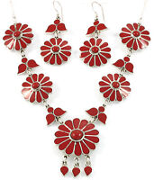 CORAL FLOWER SHAPED NECKLACE & EARRING JEWELRY SET GENUINE 925 STERLING SILVER